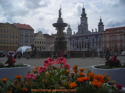 Фонтан Самсона и здание ратуши на заднем плане (Чешские Будеёвице)