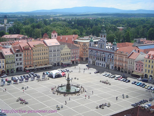 Площадь Отакара II  с высоты Чёрной Башни (Чешские Будеёвице, Чехия)