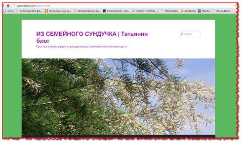 """Скриншот сайта """"Из семейного сундучка"""""""