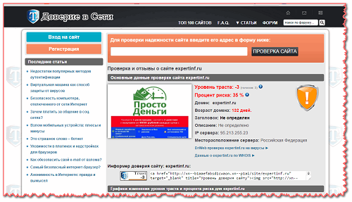 Скриншот сервиса после проведённого анализа.